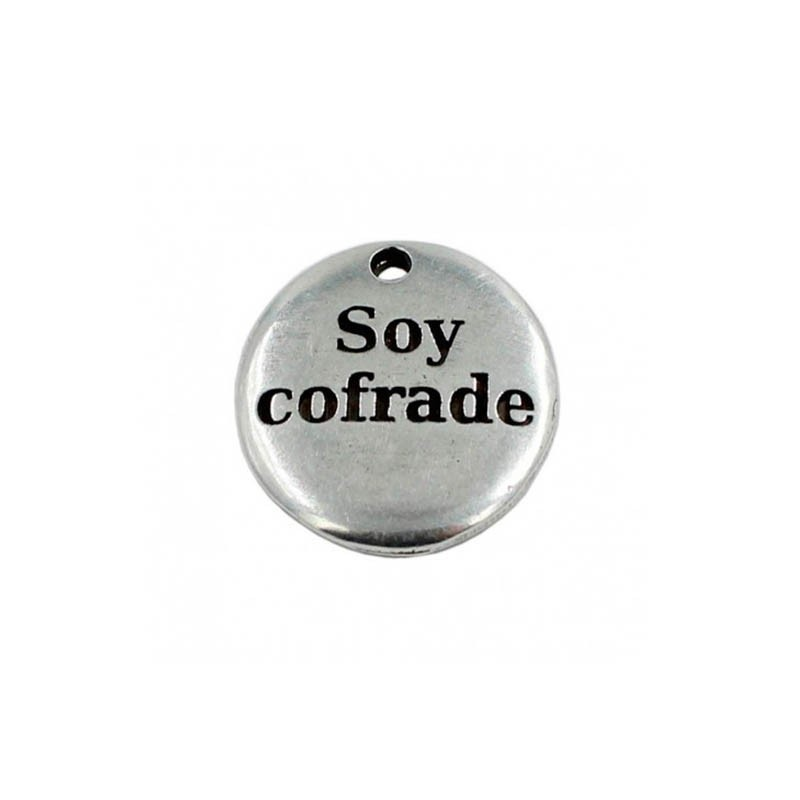 "Colgante zamak ""Soy cofrade"" de zamak y plata"