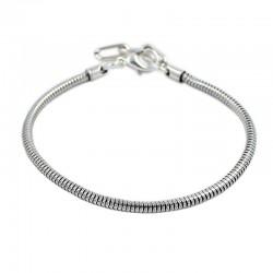 Pulsera estilo Pandora con cadena de serpiente y baño de plata