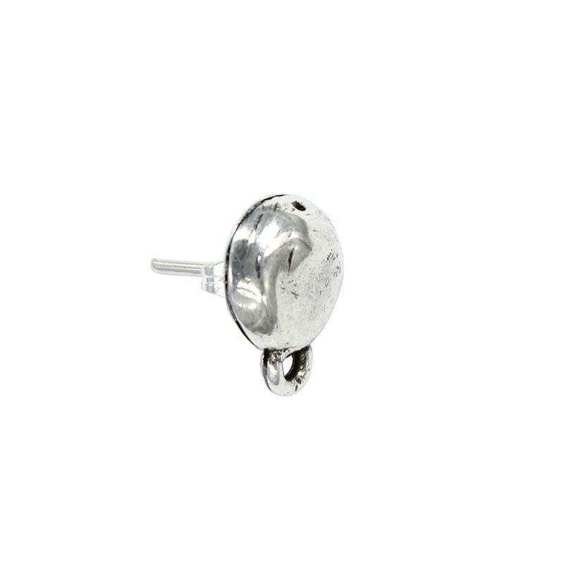 Pendiente redondo con anilla de zamak y plata