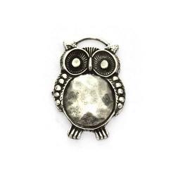 Colgante zamak owl silver finish