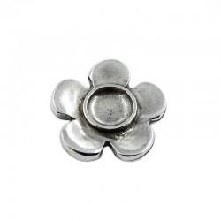 Entrepieza flor de zamak y plata