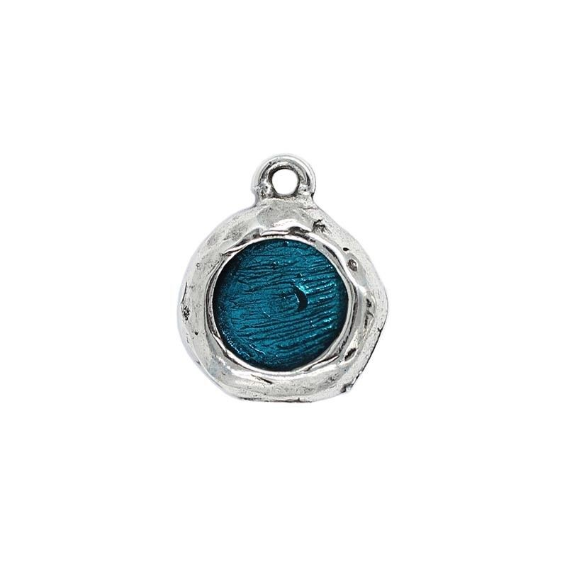 Pendant round color, made of zamak and silver