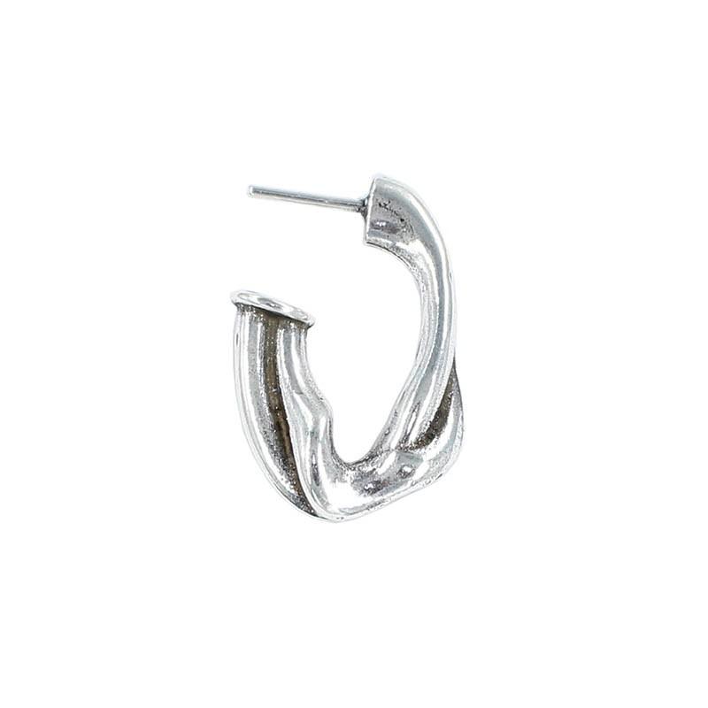 Earring hoop oval deformed