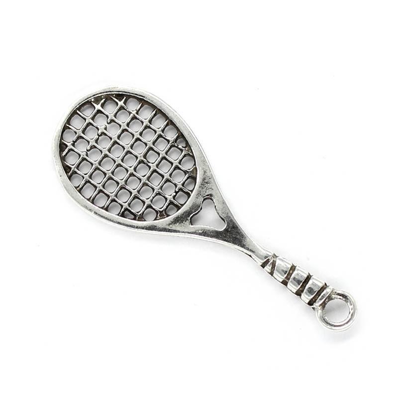 Colgante raqueta de tenis hecha de zamak y plata