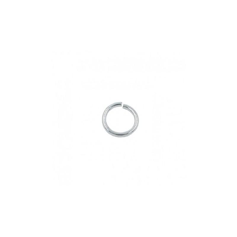 Bague ronde de 5mm avec de l'argent plaqué (20 pcs.)