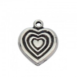 Pendant heart of zamak and silver
