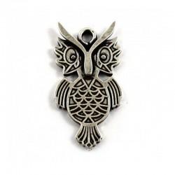 Pendant owl zamak and silver.