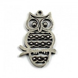 Pendant owl of luck zamak and silver
