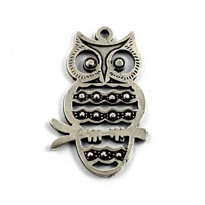 Pendant owl of luck zamak and silver