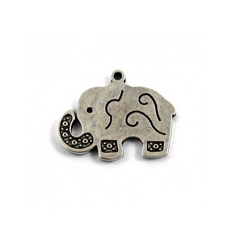 Pendant elephant zamak and silver