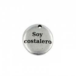 "Pendant with the phrase ""I Am a costalero"" in zamak and silver"
