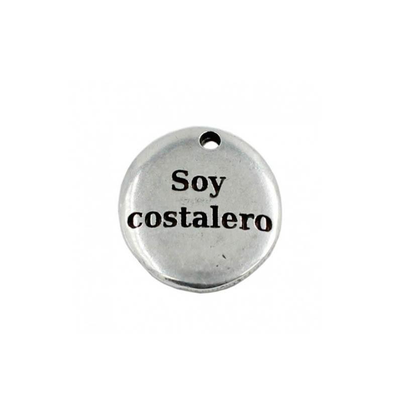 """Colgante con al frase """"Soy costalero"""" en zamak y plata"""