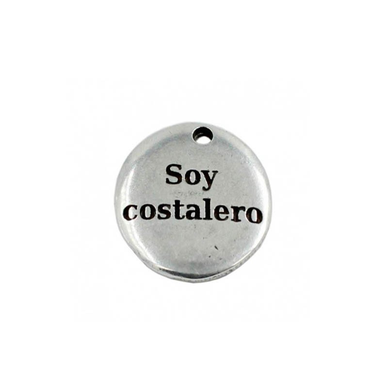 """Pendant with the phrase """"I Am a costalero"""" in zamak and silver"""