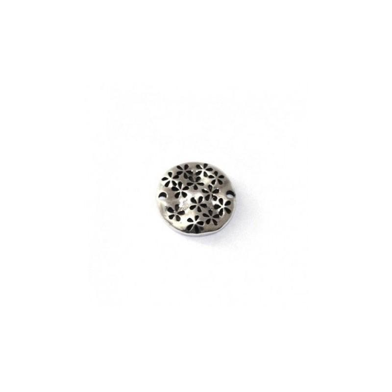 Conector con flores pequeño de zamak y plata para pulseras