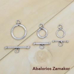 Fermeture de l'anneau avec barre de zamak plaqué argent