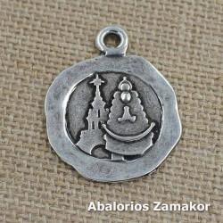 Pendentif silhouette Virgen del Rocio de zamak et de l'argent