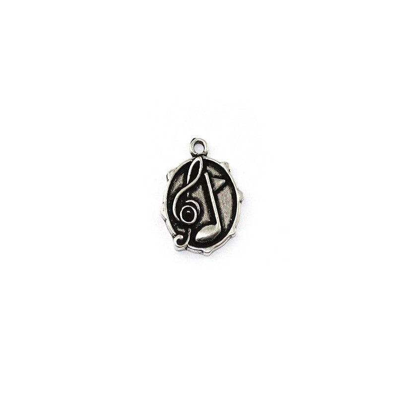 Hanging musical notes of zamak and silver