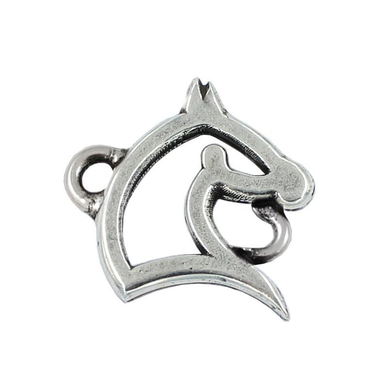 Abalorio silueta caballo de zamak y plata para pulseras