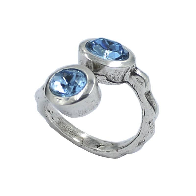 Anneau de deux cristaux de Swarovski ovale