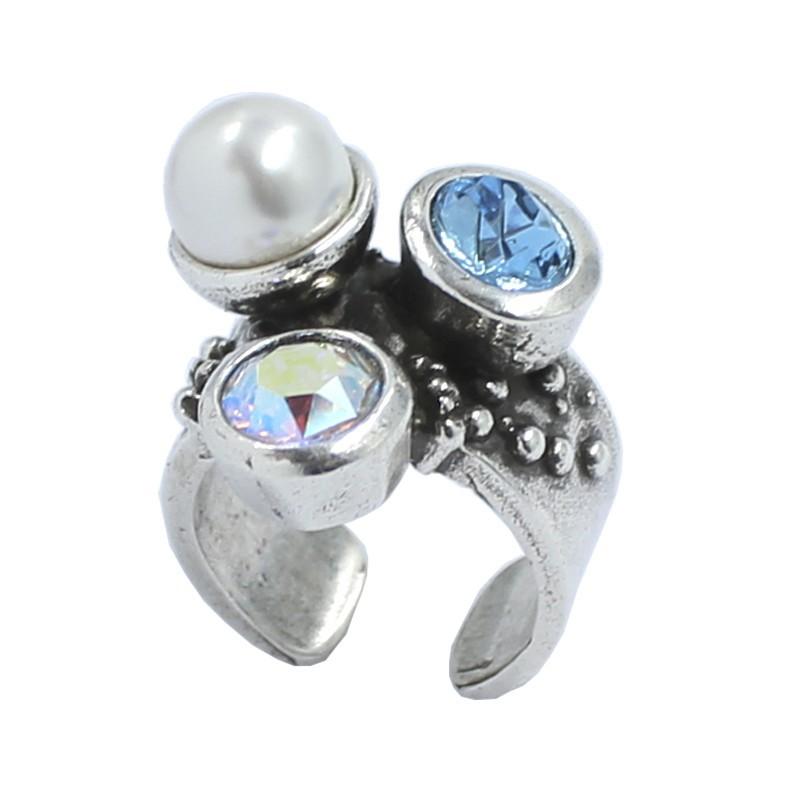 Anillo con perla y cristal