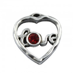 Pendant heart with Swarovski crystal