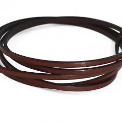 Cordón cuero plano marrón