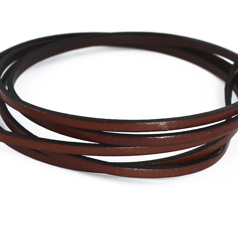 Cordon de cuir plat brun