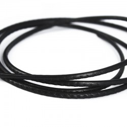 Leather cord stitched black