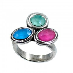 Ring with three Swarovski...