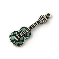 Colgante guitarra colores hecha de zamak y plata