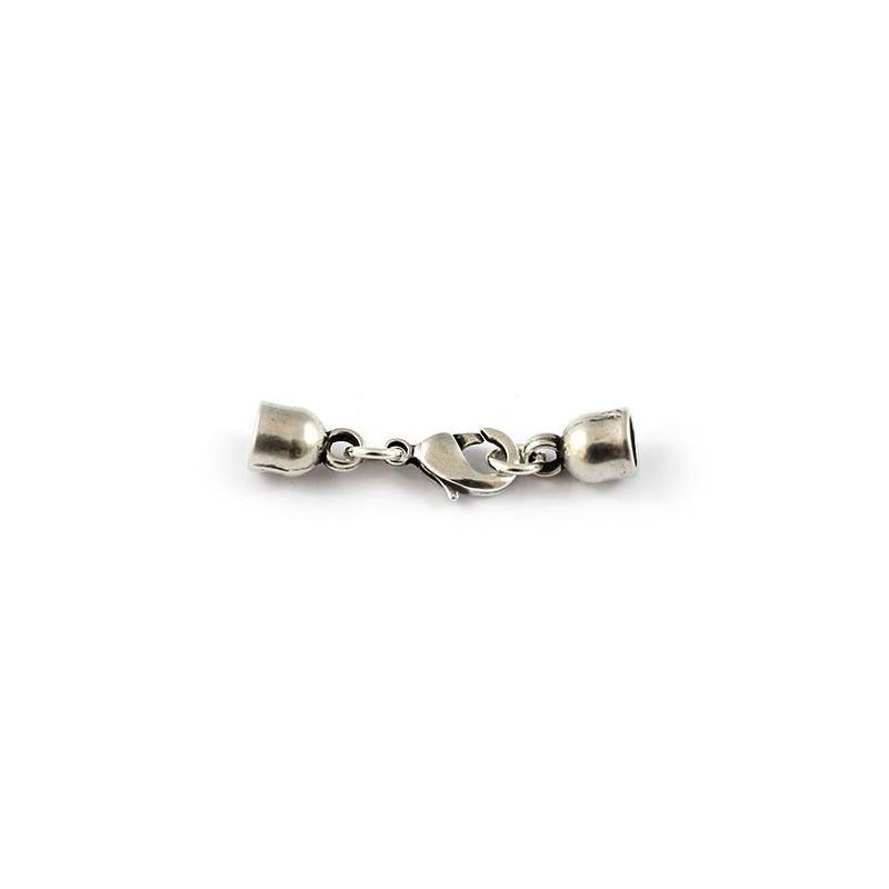 Cierre de mosquetón 5,5mm. de zamak y plata para pulseras y colgantes