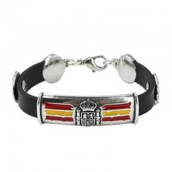 Bracelet en zamak et cuir,...