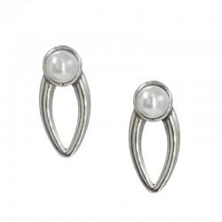 Pendientes con perla blanca