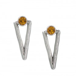 Earrings with colored crystal