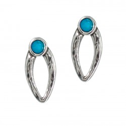 Oval earrings with colored...