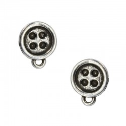 Button earrings with loop
