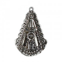 Pendant silhouette Virgen del Rocio in zamak with silver plated