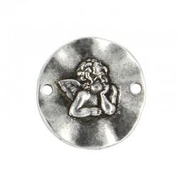 Abalorio angelote de zamak con baño de plata