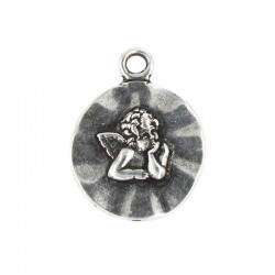 Pendant angel sharks of zamak with finish in old silver