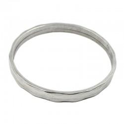 Bracelet en zamak rigide avec finition argentée