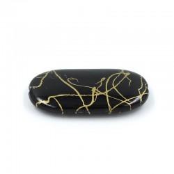 Abalorio plano de resina en color negro
