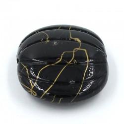 Abalorio calabaza de resina en color negro