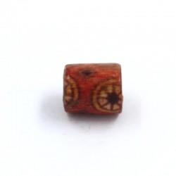 Cuenta de madera roja cilindro con flor