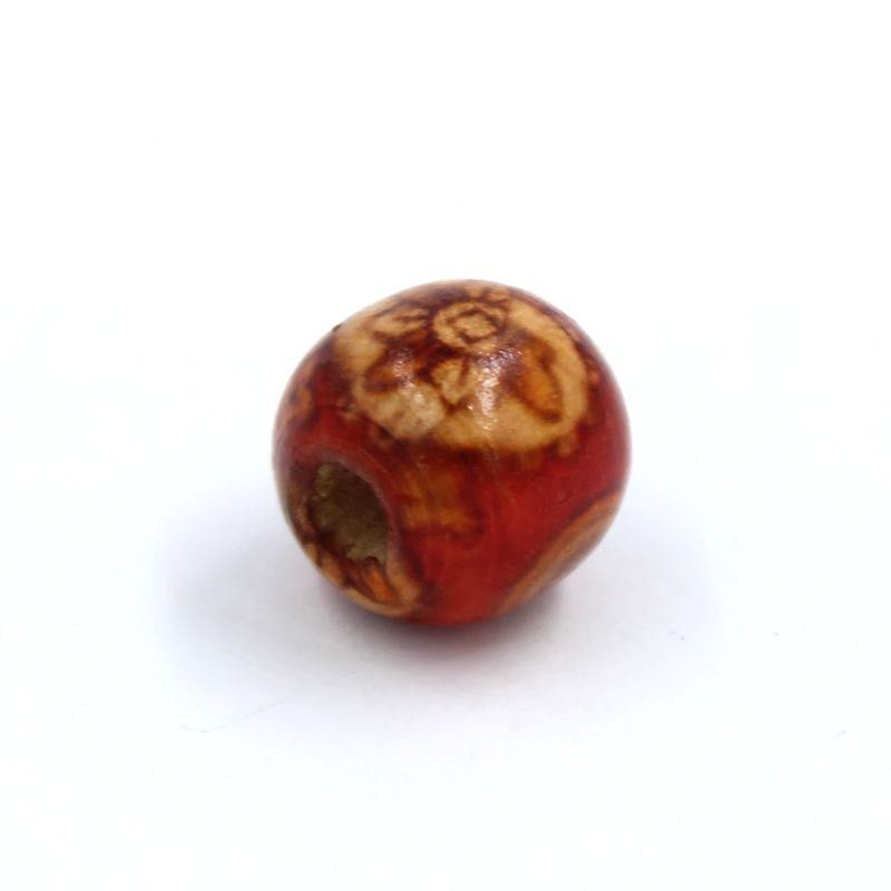 Cuenta madera bola roja con flores