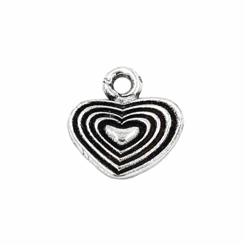Charm heart of zamak and silver old