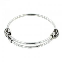 Bracelet rigide réglable épaisseur de laiton, zamak et de l'argent