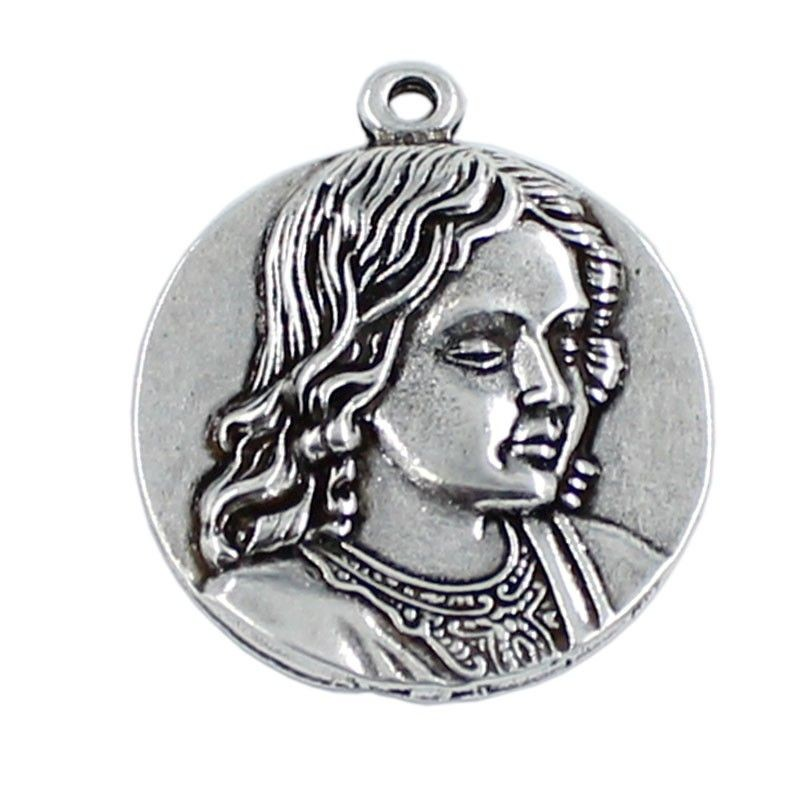 Pendant Virgin Girl in zamak and silver