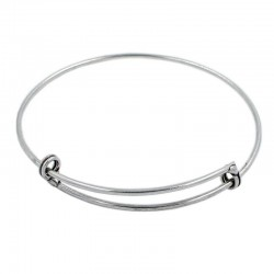 Bracelet rigid adjustable brass with silver plated
