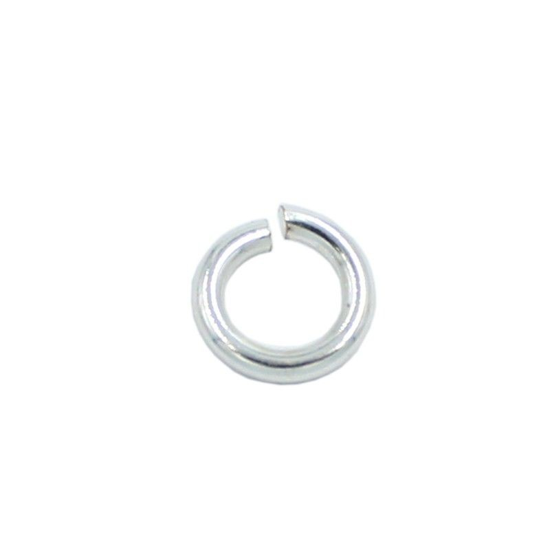 Ring round 8mm brass with silver plated (20 units)