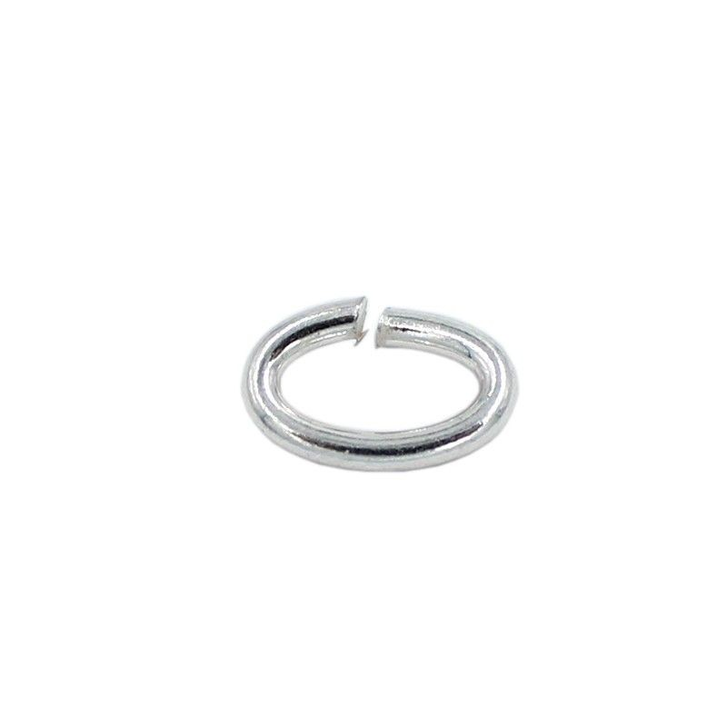 Ring oval 13mm brass with silver plated (20 units)